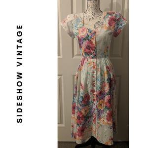 White Floral SL Fashions Dress - (Vintage)